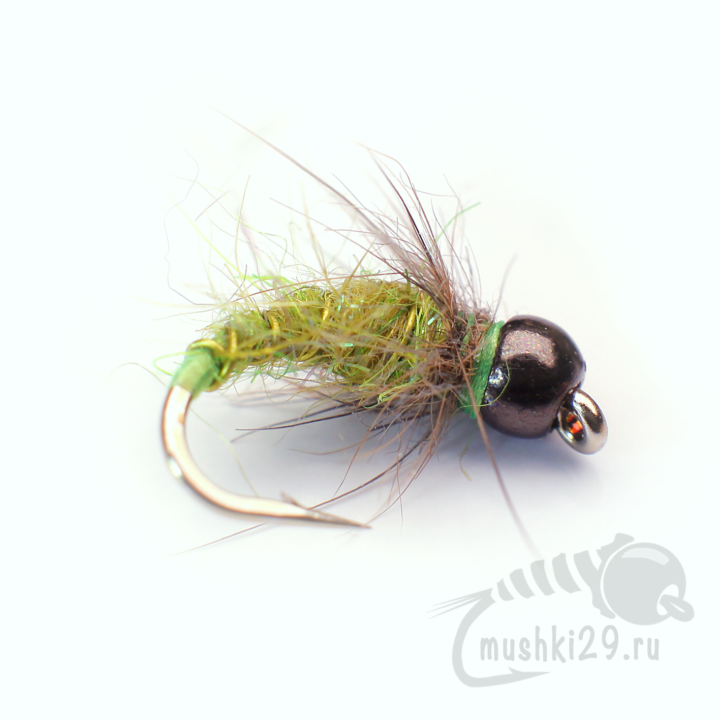 Tungsten Hare\'s Ear Nymph Variant Green